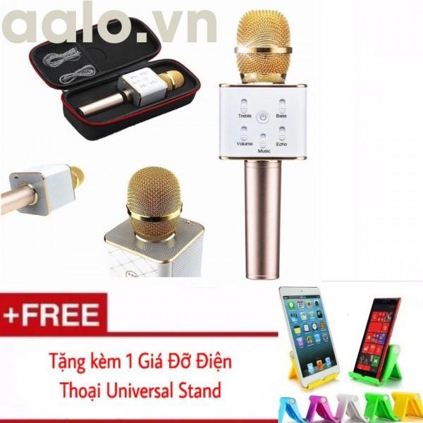 Micro karaoke Q7 tích hợp loa Bluetooth tặng kèm 1 Giá đỡ điện thoại Universal Stand - aalo.vn