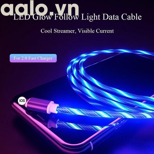 Cáp sạc nam châm dây phát sáng xoay 360 độ cao cấp iphone | micro USB | Type C - aalo.vn