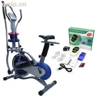 Bộ Xe đạp tập thể dục New Obitrack (Xám) + Máy massage xung điện 8 miếng dán