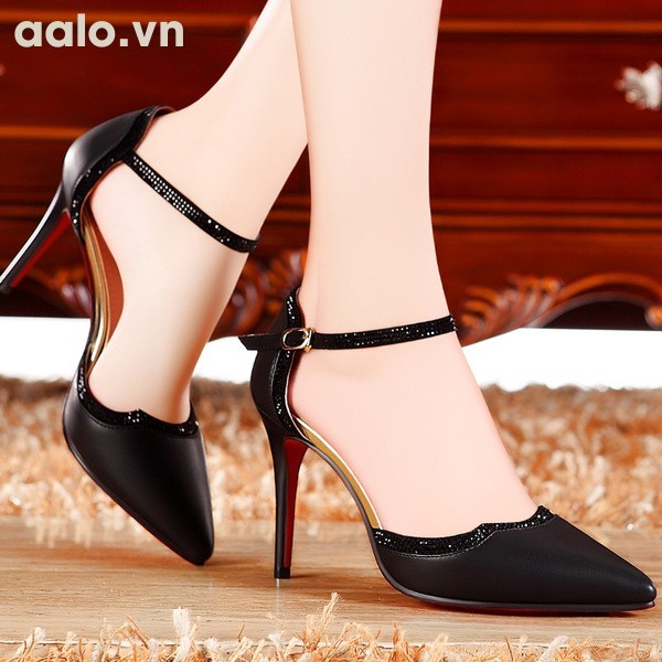 Giày cao gót phối viền kim sa