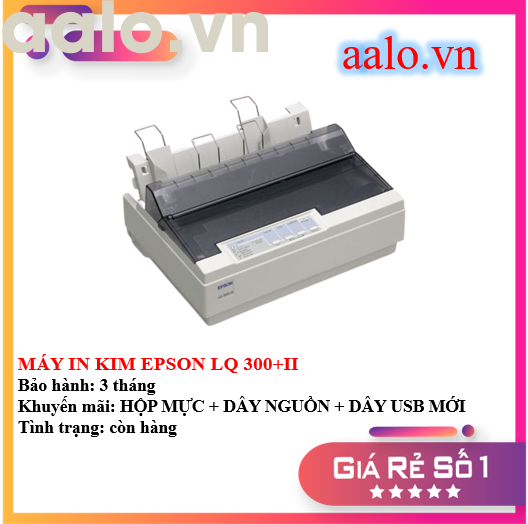 MÁY IN KIM EPSON LQ 300+II - KÈM HỘP MỰC , DÂY NGUỒN , DÂY USB MỚI - AALO.VN