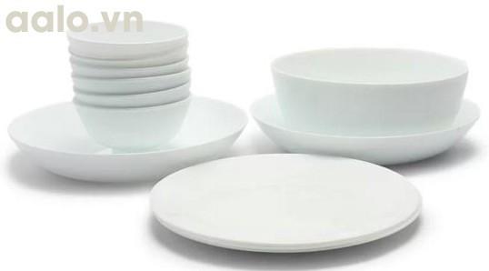 Bộ chén đĩa thủy tinh Asian 12 món Bormioli Rocco (Trắng)