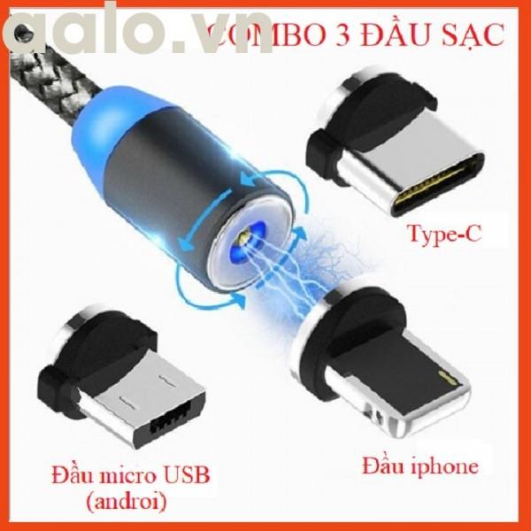 [COMBO 1 DÂY+3 ĐẦU SẠC] Cáp sạc từ hút nam châm đầu Iphone- micro USB - Type C - Dây dù - xoay 360 độ có LED cao cấp