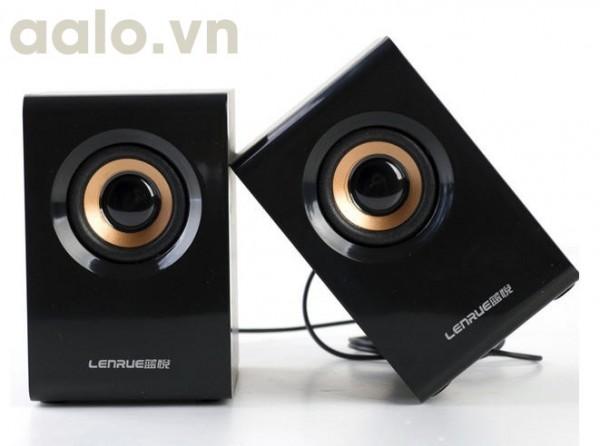 Loa LENRUE V1000 chuẩn 2.0 mini ( vỏ gỗ ) cấp nguồn USB
