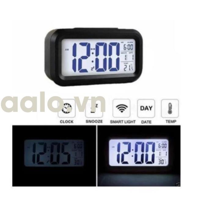 Đồng hồ báo thức kỹ thuật số với đèn LED nền cảm biến đa chức năng: thời gian, lịch, báo thức, nhiệt độ - LC01 (Đen) - aalo.vn